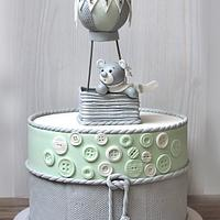 Hot air balloon - christening cake..