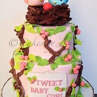 Bird themed baby shower cake