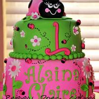 Pink and Green Ladybug Cake