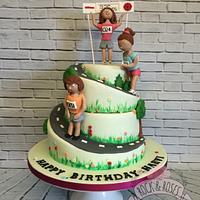 Marathon themed spiral cake