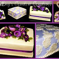 Shades of purple in lace and calla lilies
