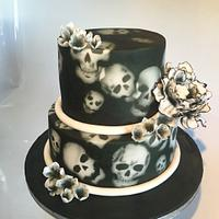 Skull and flowers wedding cake