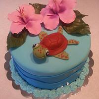 Turtle and hibiscus Birthday Cake