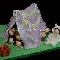 Camping out tent cake