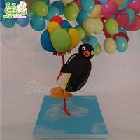 Pingu and the balloons - gravity defying cake