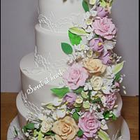 White wedding floral cake