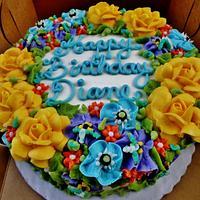 Yellow rose cake mixed bouquet (100% buttercream)