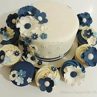 Ivory & Blue Wedding Cake
