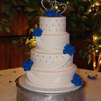 Blue Hydreangea Wedding Cake