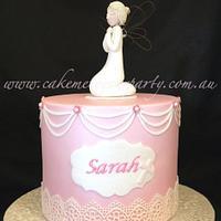 Fondant Angel on Pink Baptism Cake