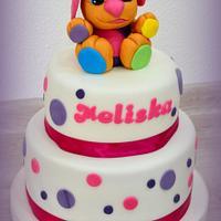 Little dog on cake