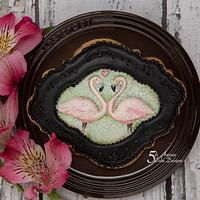Flamingos In Love a Cookie Frame