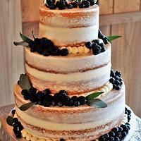 Semi naked Wedding cake with fresh berries