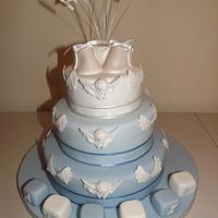 Cherubs & angel wings christening cake by Donna