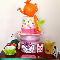 5th Birthday Alice in Wonderland Cake