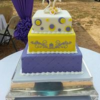 Purple and yellow wedding cake