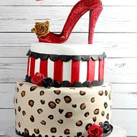 Rockabilly Cake with Edible High Heel