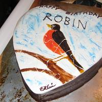 Puzzle cake, Hand painted robin