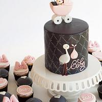Gray and Pink Baby Shower Cake and Cupcakes