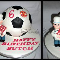 football cake with cheeky chef