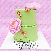 """""""PEONIES & BUTTERFLIES"""" Cake"""