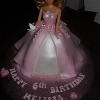pink princess doll birthday cake