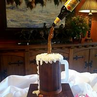 Shiner Bock Gravity-defying Beer Mug Cake