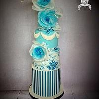 Wedgewood Blue Wedding Cake