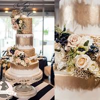 Gold Glam Coastal Winter wedding Cake
