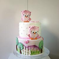 Owls with 2 flowers for 2 candles on top