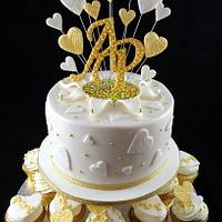 Gold themed Engagement Cupcake Tower by Lisa-Jane Fudge