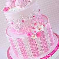 Pink crochet baby booties