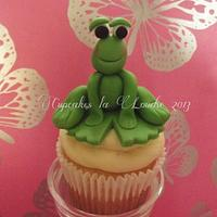 Frog on a lily pad cupcake