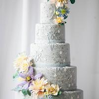 Celestial Sequin Wedding Cake I Sugar Flower Wedding Cake