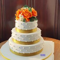 A Simple Gumpaste Orange Roses Wedding Cake