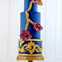Regal Navy & Gold Wedding Cake