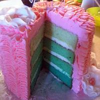 Pink Ruffle and Blue/Green Ombre Cake