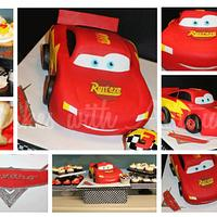 Lightning McQueen Cake-All Edible!!