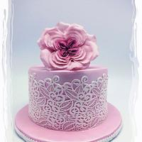 Vintage Rose And Lace Cake For Mommy Dearest!
