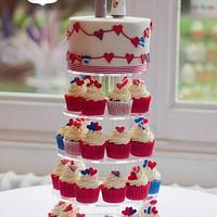 Patriotic Bunting Cupcake Tower