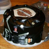 Harley Davidson Leather Jacket cake by Stephanie Magdiel