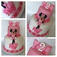 Girly Minnie Mouse 2 tier with a touch of sparkle