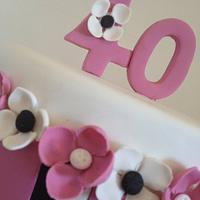 Pink, black and white birthday cake