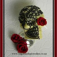 Tattooed Skull Cake topper - white chocolate with dark chocolate Henna tattoo