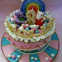Barney and Peppa Pig birthday cake