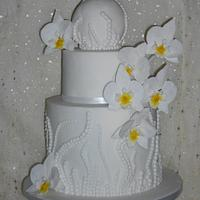 White orchid textured cake
