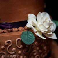 Chocolate gardenia wedding cake
