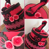 Black and Pink birthday cake with high heel