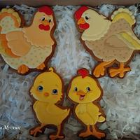 Gingerbread family of chickens