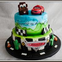 Disney Cars Cake for Bradley ... my first airbrushed cake